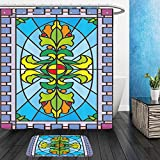 vanfan Bathroom 2 Suits 1 Shower Curtains & 1 Floor Matsvector image of patterned stained glass windows stained glass From Bath room