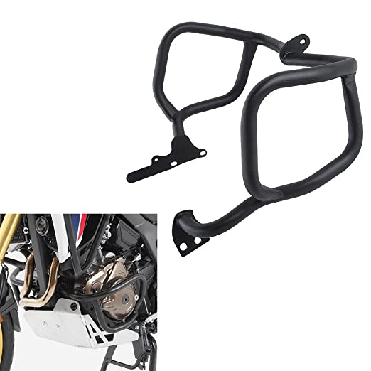 FATExpress Motorcycle Black Steel Lower Engine Guard Crash Bar Side Bumper Protector for 2016-2017 Honda CRF 1000 L CRF1000L Africa Twin 16-17