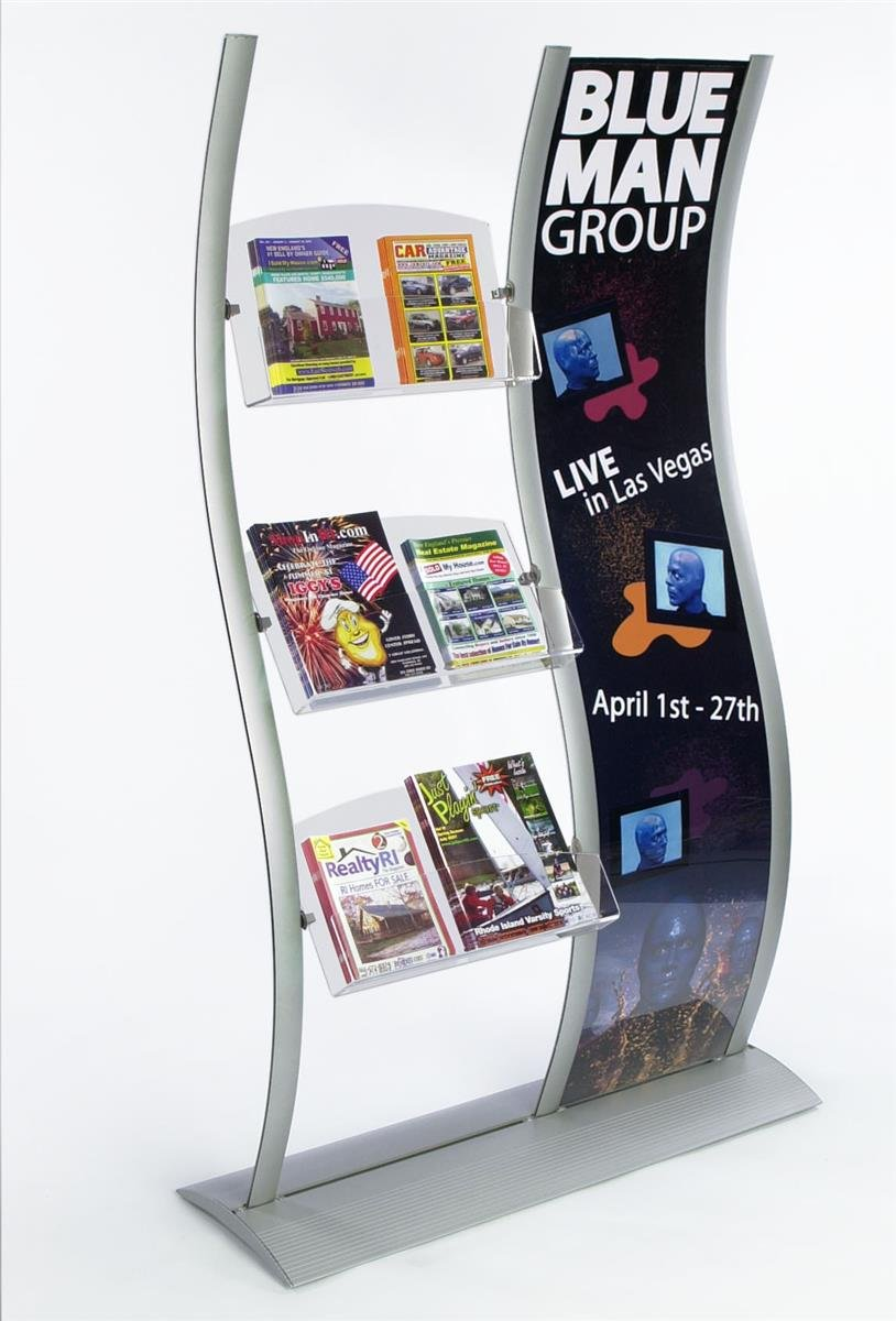 Displays2go Curved Literature Stands, Aluminum Columns, (3) Acrylic Trays – Silver, Clear (DWVNSP7918)