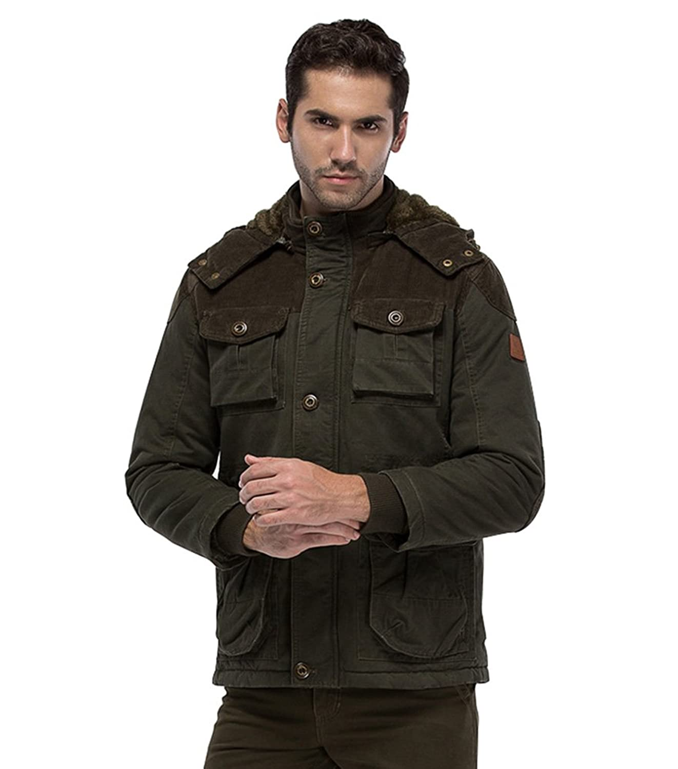 Baishun Men's Winter Thicken Multi-Pocket Cotton Jacket & Coat with Removable Hoodies
