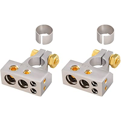 InstallGear 2/4/8/10 Gauge AWG Positive & Negative Battery Terminal Clamp and Shims (Pair): Automotive