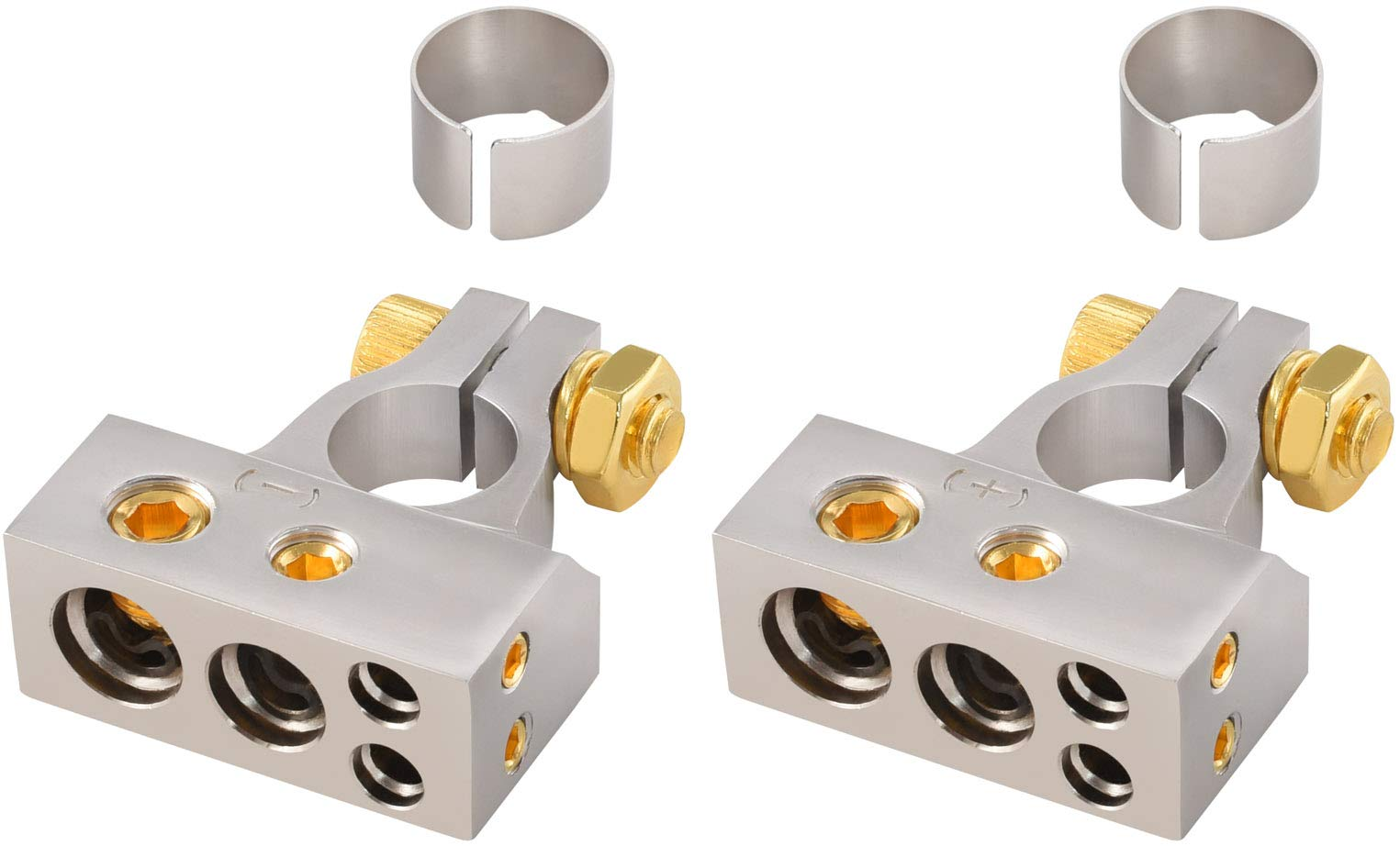 InstallGear 2/4/8/10 Gauge AWG Positive & Negative Battery Terminal Clamp and Shims (Pair) by InstallGear