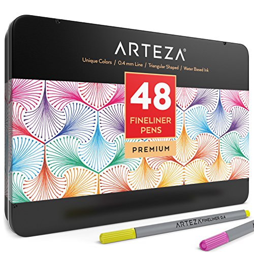 Arteza Fineliner Fine Point Pens, Fine Tip Markers 48 Assorted Colors (0.4mm Tips, Set of 48) by ARTEZA