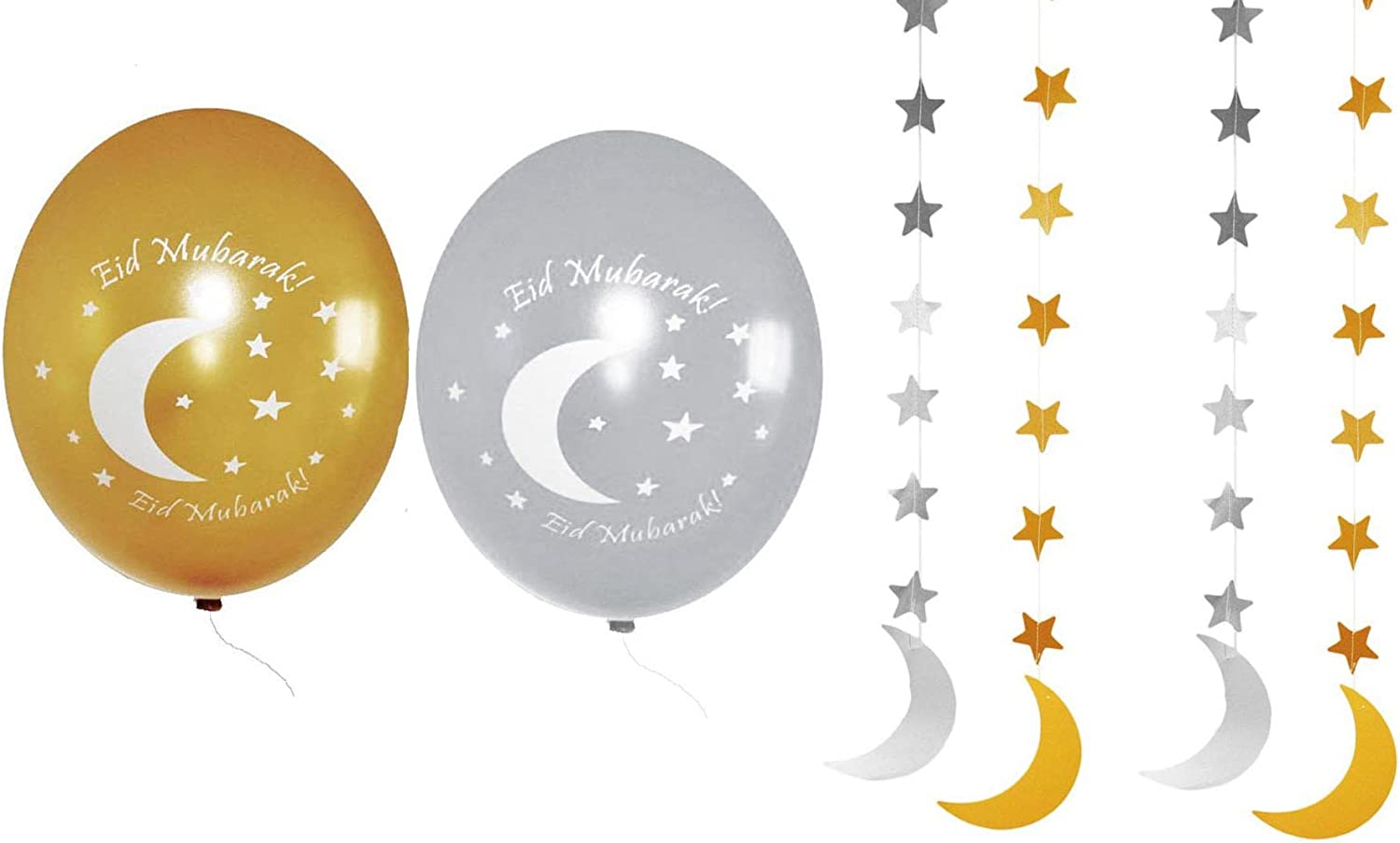 Ramadan Eid Decorations Party Pack II Gold and Silver Moon