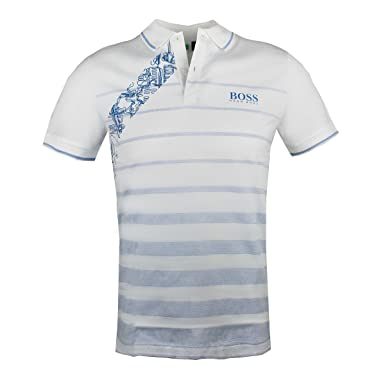 f09c3b78bfdfec Image Unavailable. Image not available for. Color: Hugo Boss Mens Golf Polo  Paule Pro 2 White Slim Fit 50389097 Small