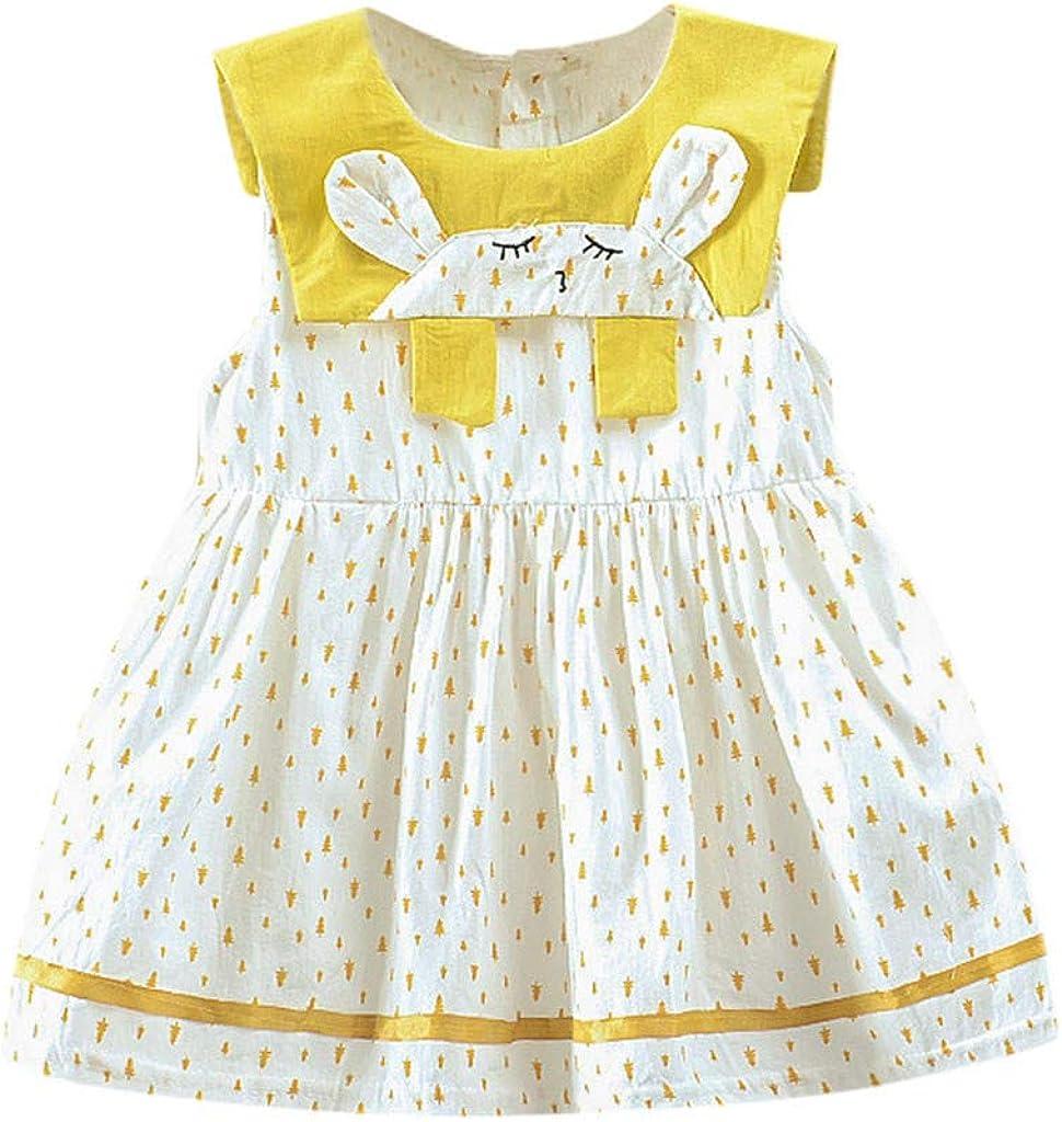 Toddler Kid Baby Girl Dot Printed Cartoon Bunny Party Princess Dress Clothing