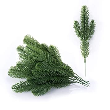 Christmas Leaves.Meiliy 30pcs Artificial Greenery Xmas Pine Picks Pine Leaves Pine Twigs For Crafts Indoor And Outdoor Christmas Holiday Home Garden Decor