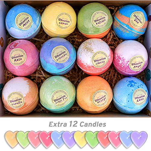 12-Bath-Bombs-Gift-Set-Super-Large-5oz-Each-Best-Gift-Ideas-for-Women-Teen-Girls-and-Kids-Handmade-with-Natural-Vegan-Shea-Cocoa-Butter-Spa-with-Fizzies-and-Included-12-Candles-Mothers-Day-Gifts