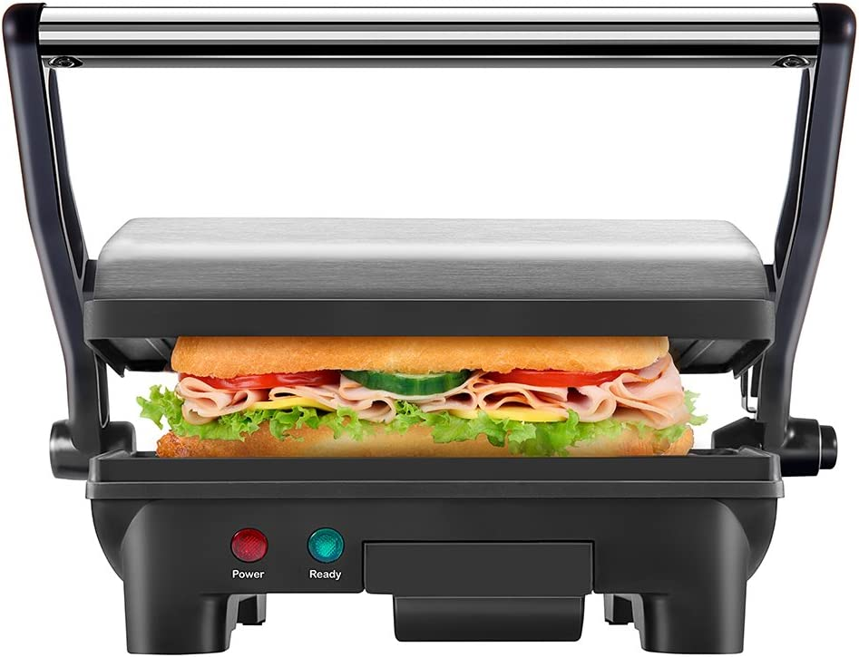 New House Kitchen Stainless Steel Non-Stick Panini Press Grill & Gourmet Sandwich Maker with Removable Drip Tray and 180 Degree Opening Function