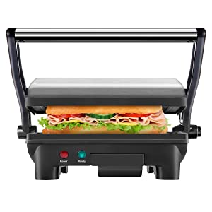 New House Kitchen Panini Press Gourmet Sandwich Maker Non-Stick Coated Plates, Opens 180 Degrees, Fits Any Size or Type of Food, Electric-Grill, Stainless Steel Exterior and Removable Drip Tray
