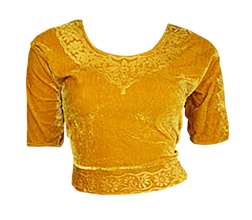 Trendofindia Oro Terciopelo Top Blusa Choli para Bollywood Sari Talla XL