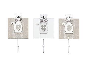 Conjunto de 3 ganchos de perchero pared madera colgador solo gancho con diseño de gatto para pared o puerta en 1 x blanco y 2 x gris diseño de gattos ...