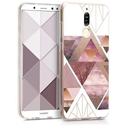 kwmobile Case for Huawei Mate 10 Lite - TPU Silicone Crystal Clear Back Case Protective Cover IMD Design - Light Pink/Rose Gold/White
