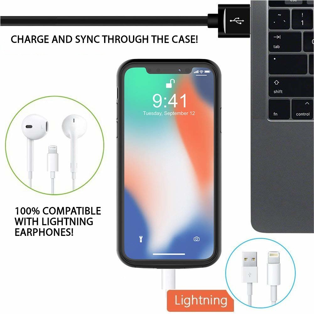 Gizmoor Iphone X Battery Case 4000mah Portable Ultra Slim External Charger Control Charging Support Headphones