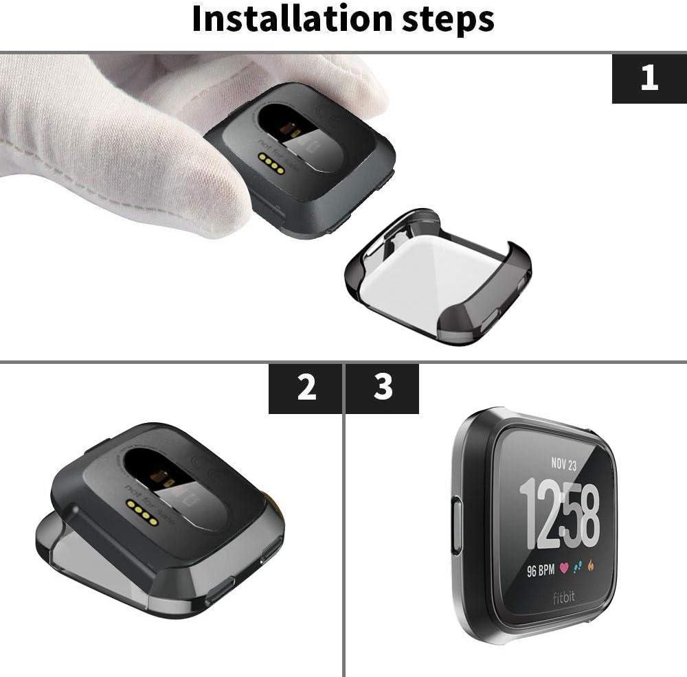 TPU Suave Color Negro Paquete de 5 Protectores de Pantalla Ultra Delgados de 360 Grados Funda Protectora para Fitbit Versa Resistente a los ara/ñazos