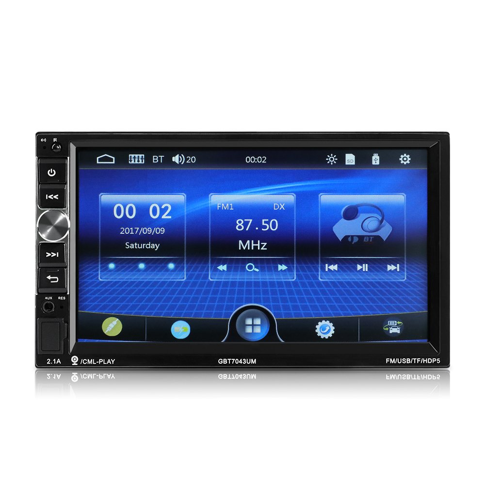 CarThree Double Din Car Stereo Bluetooth Radio Video Player, 7-Inch HD 1024600 Bluetooth Car Stereo, Car Stereo Support FM Android Phone Mirror Link
