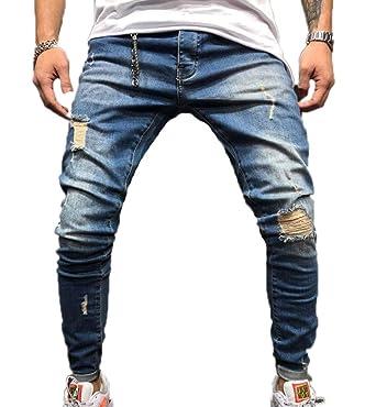 Hellomiko Pantalones Vaqueros para Hombre Slim Fit con ...