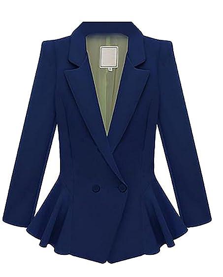 Sonder Fashion Womens Casual Slim Solid Lapel Two-Button Blazer Jackets Dark BlueXX-Small