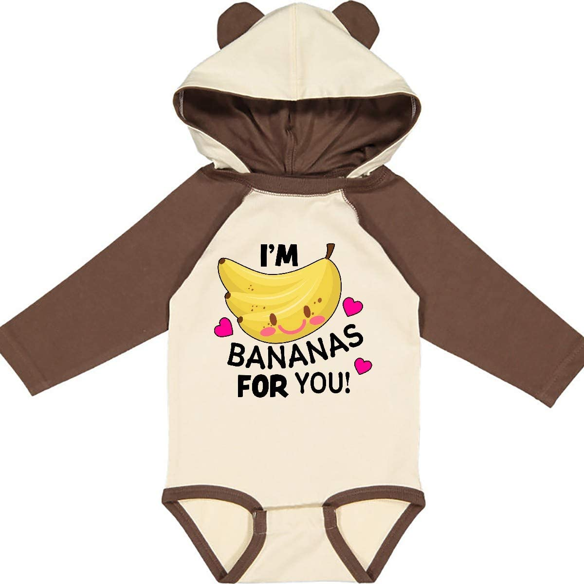 inktastic Im a Bananas for You with Cute Banana and Hearts Long Sleeve Creeper