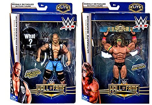 WWE, Elite Collection 2 Pack Hall of Fame Exclusive Action Figure, Ultimate Warrior & Stone Cold Steve Austin
