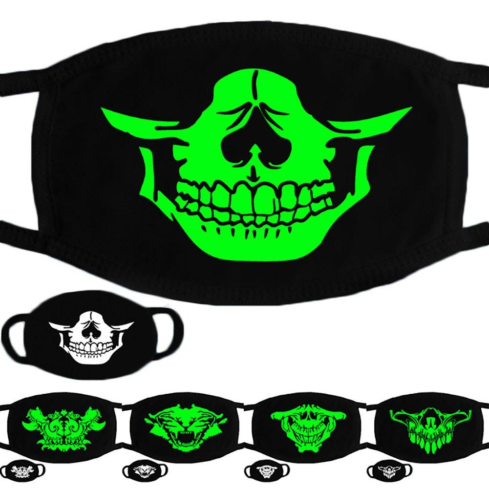 Trenton Halloween Skull Pattern Cool Luminous Unisex Cotton Blend Anti Dust Face Mouth Mask for Man Woman by TRENTON (Image #5)