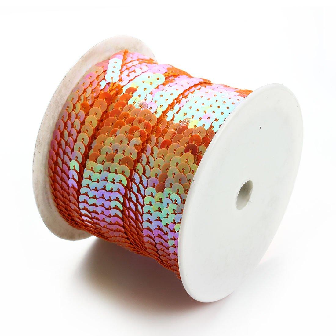 Linsoir Beads Spangle Flat Sequins Paillette Trim Spool String 6mm Sequins 100 Yards Gold Color