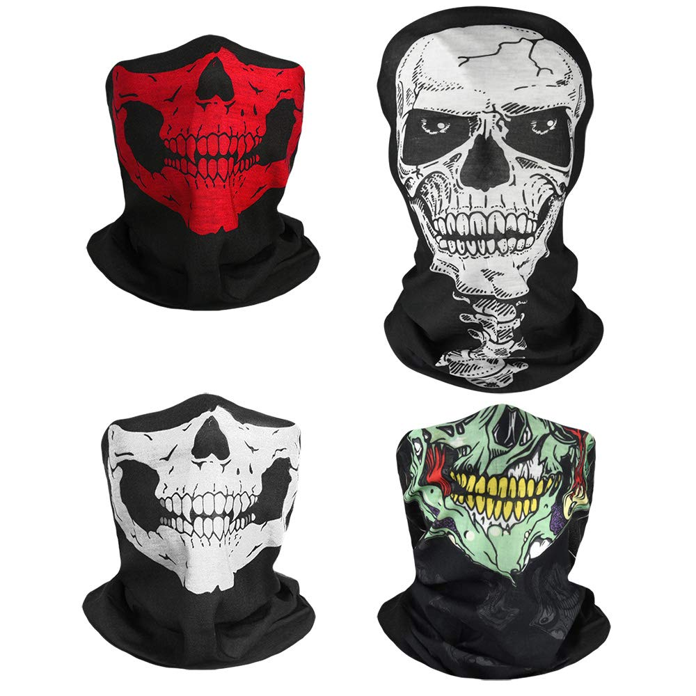 TUPARKA 4 Pieces Black Breathable Seamless Tube Skull Face Mask Bike Face Mask for Halloween Dance Party Motorcycle Bike Hiking Ski 24cm/9.45inch x 47cm/18.5inch