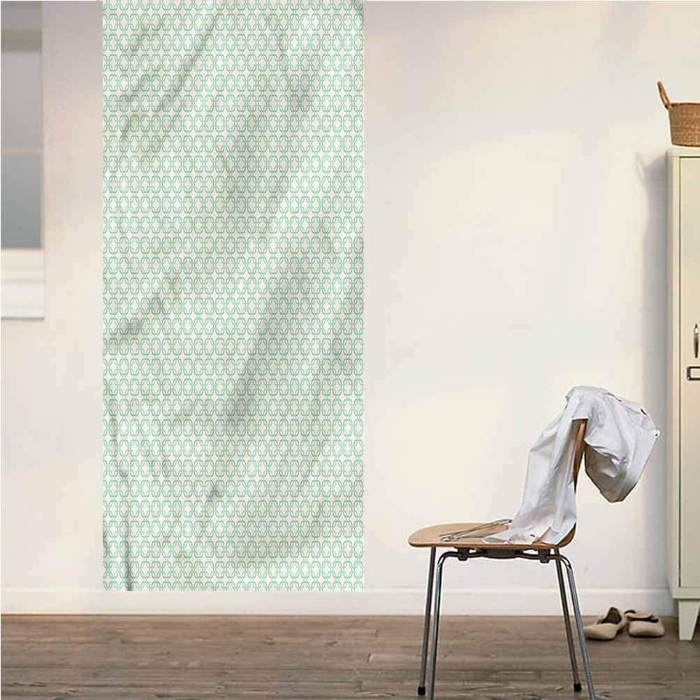 Poppy Ramsden Turquoise ONE Piece Door Stickers Wall Murals,Classical Retro Art Peel and Stick Vinyl Door Mural Decals for Door/Wall/Fridge,32x95 Inch