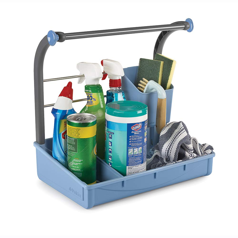 Polder Under-Sink Cleaning Supplies Organizer/Storage Caddy with Adjustable Divider, 2 Cross Bars for Hanging Spray Bottles and CLoths and a Sponge Cup