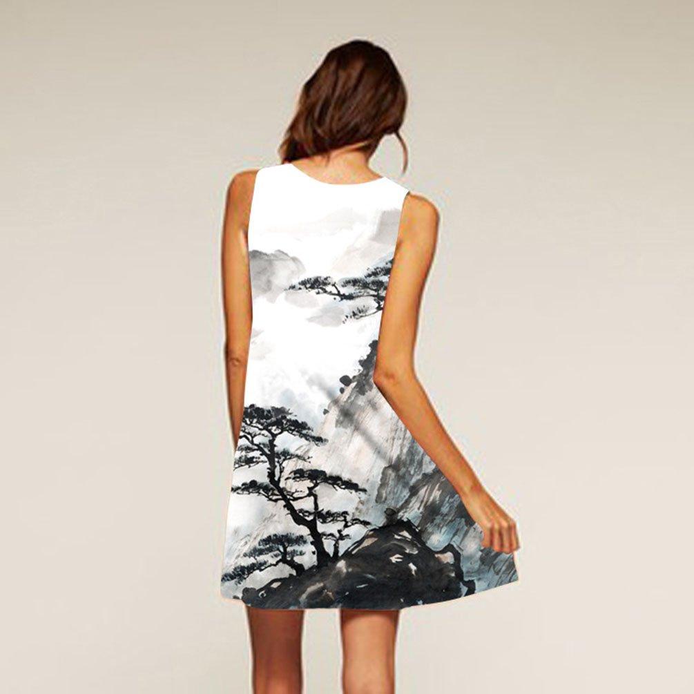 f9518a137702 ZKOOO Été Femme Mini Robes de Plage Fluide Genoux Col Rond sans Manche A-Line  Courte Robe Vest Arbre Imprimé Ample Dress Fille élégante  Amazon.fr  ...