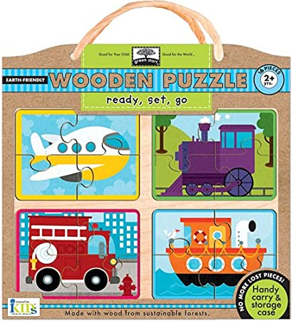 Innovative Kids Green Start Wooden Puzzles Tough Trucks 18Mos+ Puzzle