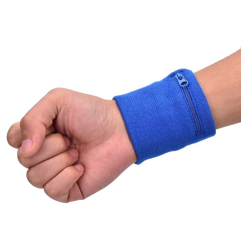 SevenMye 1PCS Wrist Band, Terry Cloth Wristband, Sweat Band, Sweatband With Zip Wallet Large vision