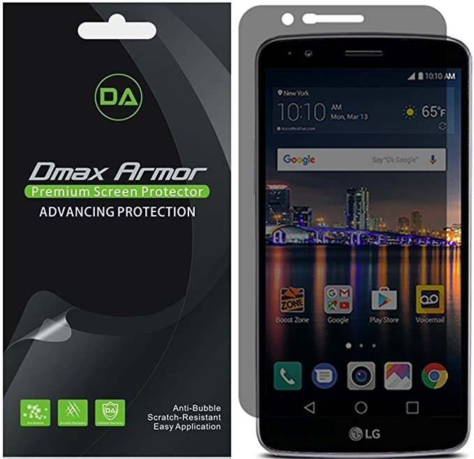 [2-Pack] Dmax Armor for LG Stylo 3 Privacy Anti-Spy Screen Protector Shield  - Lifetime Replacements Warranty- Retail Packaging