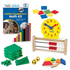 hand2mind - 93532 Hands-On Standards, Learning at Home Family Engagement Kit for Grade 2, Math Activity Book with Math Manipulatives, Spanish Translations for Key Materials