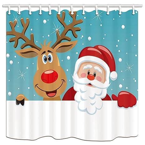 KOTOM Cortinas de Ducha de poliéster de Navidad, un Papá Noel y un Reno dirigen
