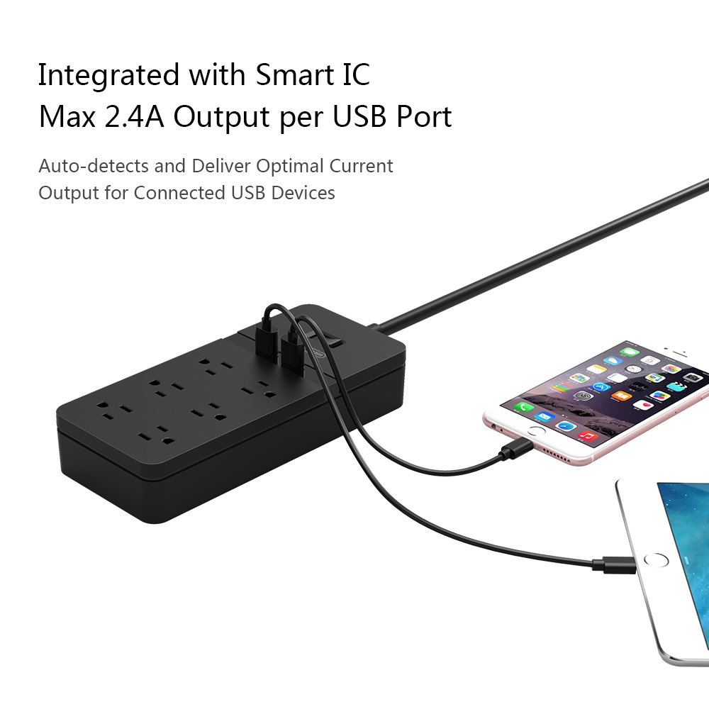 Ntonpower 4 Outlet Electrical Surge Protector With 12w 2 Port Usb Multiple Receptacles On The Same Circuit Are Connected In Charger And Overload