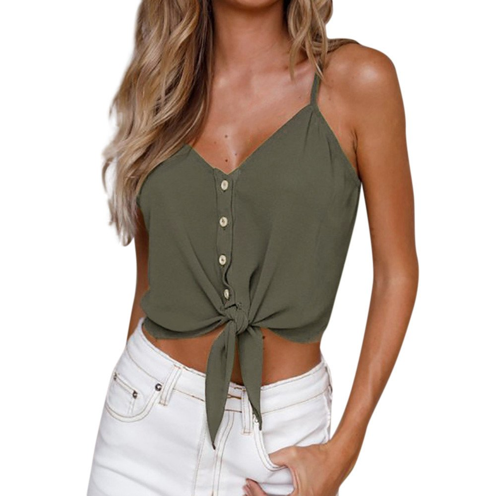 Crop Top Women Button Sleeveless Blouse Casual Tie Knot Tank Shirt Camisole Vest Tankinis Cardigan Tees Bikinis Green