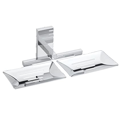 ARIBLUE Double Soap Dish - Soap Stand, 304 Stainless Steel, Chrome (Silver Finish) Rectangle