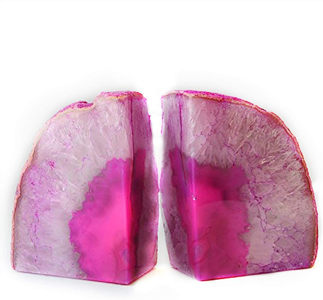 JIC Gem Home Decorative 2 to 3 Lbs Polished Dyed Pink Color Geode Brazilian Agate Bookends 1 Pair with Rubber Bumpers Small Size