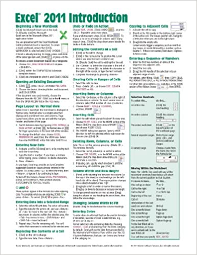 Excel 2011 for Mac: Introduction Quick Reference Guide (Cheat ...