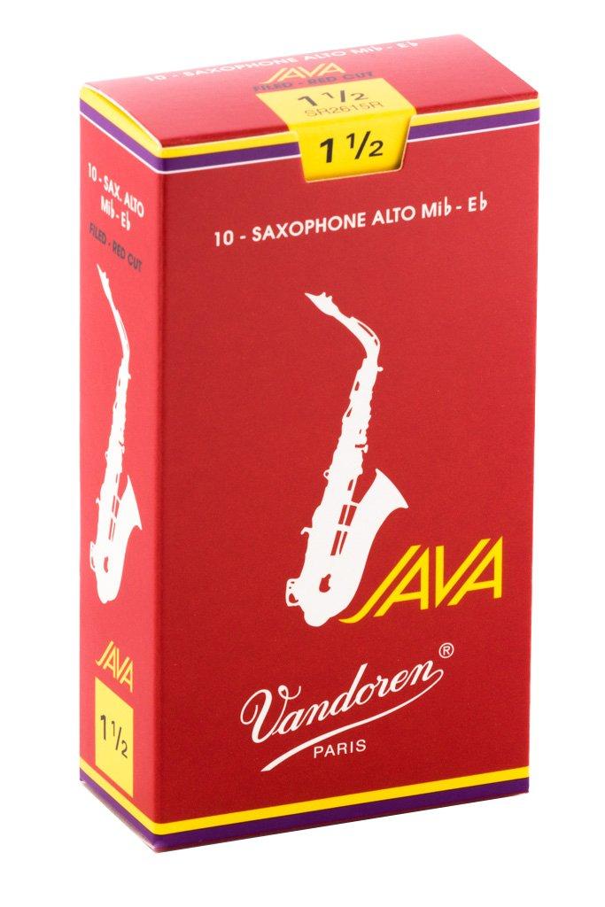 Vandoren SR2615R Alto Sax JAVA Red Reeds Strength 1.5; Box of 10