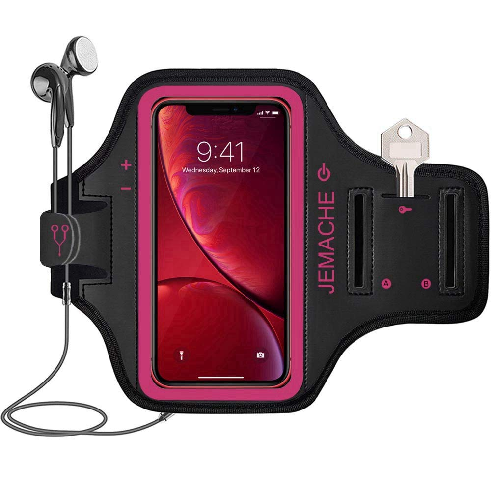 iPhone XR Armband, JEMACHE Water Resistant Gym Running Workouts Arm Band Case for iPhone XR with Card Holder (Rosy)