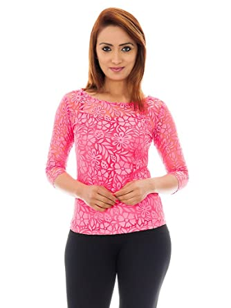 635cbbf15dd01c Femninora Women's Floral Lace Pink Color Top: Amazon.in: Clothing &  Accessories