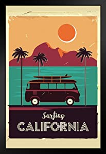 Surfing California Coastline Vintage Van Palm Trees Black Wood Framed Art Poster 14x20