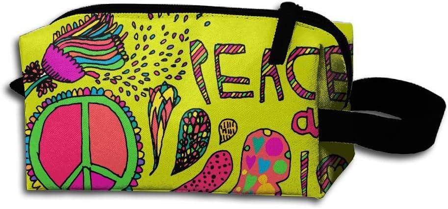 ZBAG Hippie Paz y Amor portátil maquillaje cremallera Estuche Maquillaje bolsa de funda de transporte cepillo