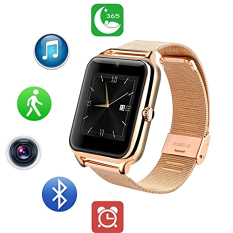 aa9a489e4e26 ZEERKEER Android SmartWatch Smart Watch Bluetooth Fitness Watch Fitness  Tracker con Tarjeta SIM TF Totalmente