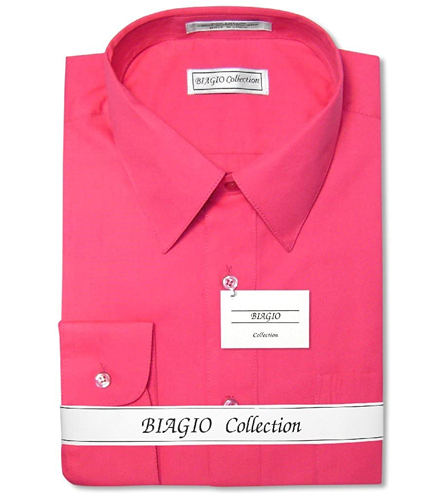 Biagio Mens 100 Cotton Solid Hot Pink Fuchsia Dress Shirt W