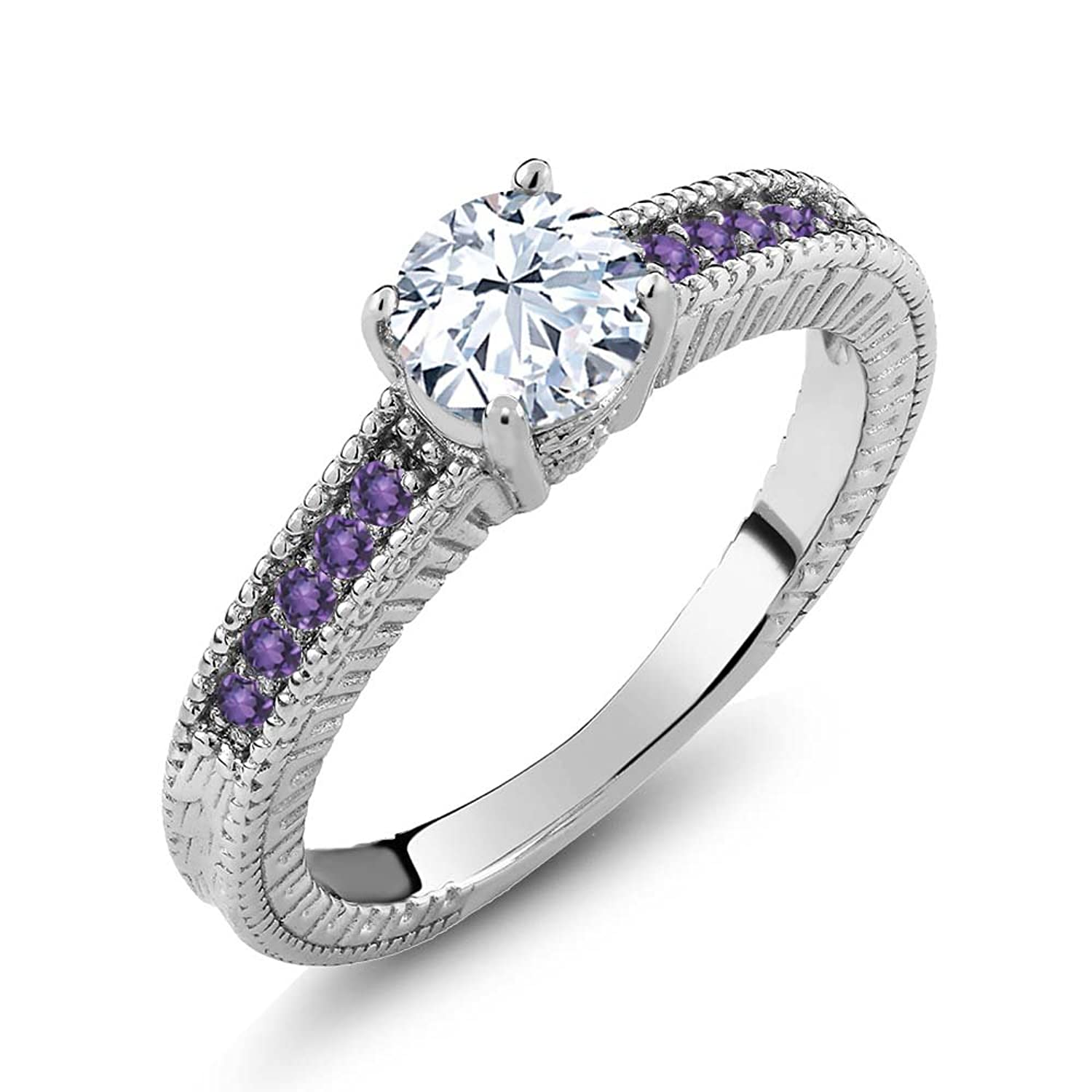 1.20 Ct Round White Topaz Purple Amethyst 925 Sterling Silver Engagement Ring