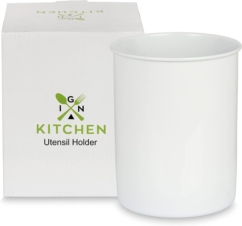 White Utensil Holder for Countertop- Modern Farmhouse Kitchen Decor - Utensils Organizer with Stainless Steel Rim – 5 x 6