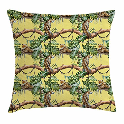 Watercolor Throw Pillow Cushion Cover by Ambesonne, Leopards in the Jungle Tropical Scene Tree Branches and Leaves, Decorative Square Accent Pillow Case, 16 X 16 Inches, Yellow Green Pale (Leopard Leaf)